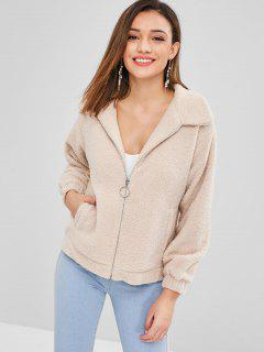 ZAFUL Zip Up Faux Shearling Fluffy Winter Coat - Camel Brown M