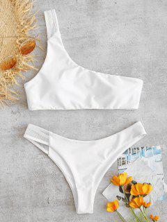 ZAFUL Mesh Panel One Shoulder Bikini Set - White S