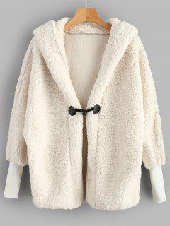 Batwing Sleeve Faux Shearling Teddy Winter Coat - White L