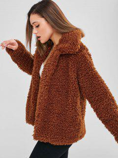 ZAFUL Faux Fur Fluffy Textured Winter Coat - Brown M