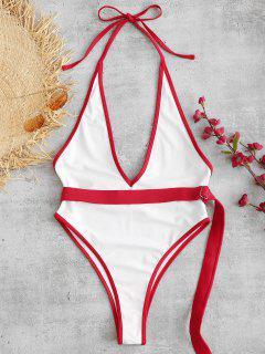 Rückenfreier Badeanzug Mit ZAFUL-Gürtel Und Kontrastierendem Paspel - Weiß L
