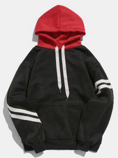 Kangaroo Pocket Fleece Pullover Hoodie - Black M