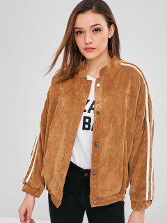 Baggy Faux Fur Lined Corduroy Jacket - Brown