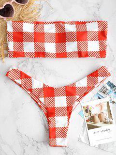 ZAFUL Plaid High Cut Bandeau-Bikini-Set - Multi-a L