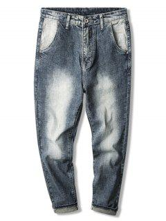 Faded Wash Zip Fly Denim Pants - Blue 40