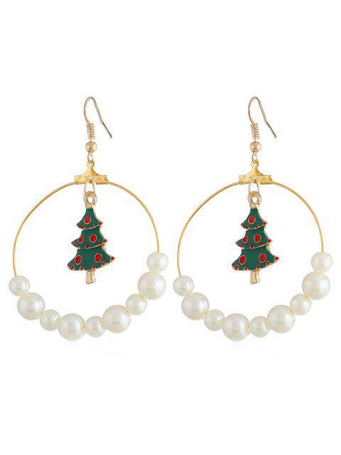 Weihnachtsbaum Künstliche Perle Haken Ohrringe - Gold  Mobile