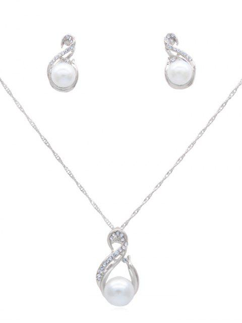 outfits Rhinestone Artificial Pearl Chain Necklace Earrings Set - SILVER  Mobile
