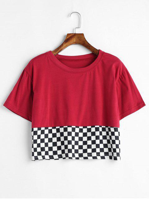 Camiseta de corte a cuadros con ajuste holgado - Vino Tinto L Mobile