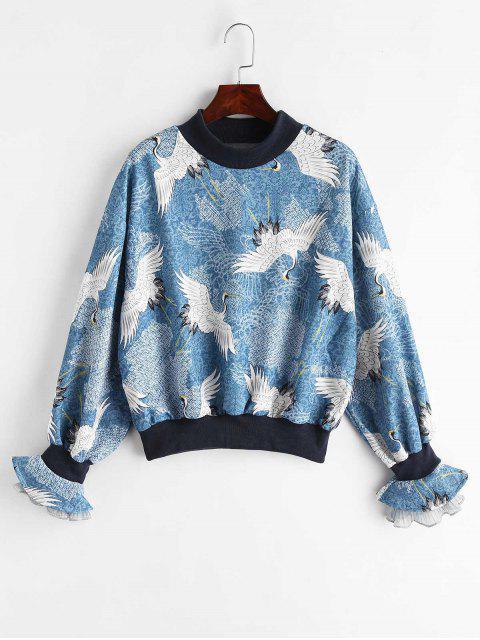 Kran Bell Sleeve Sweatshirt - Blauer Efeu Eine Größe Mobile
