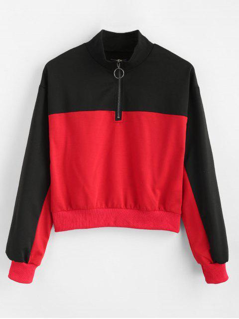 Sudadera con cuello redondo de dos tonos - Rojo L Mobile