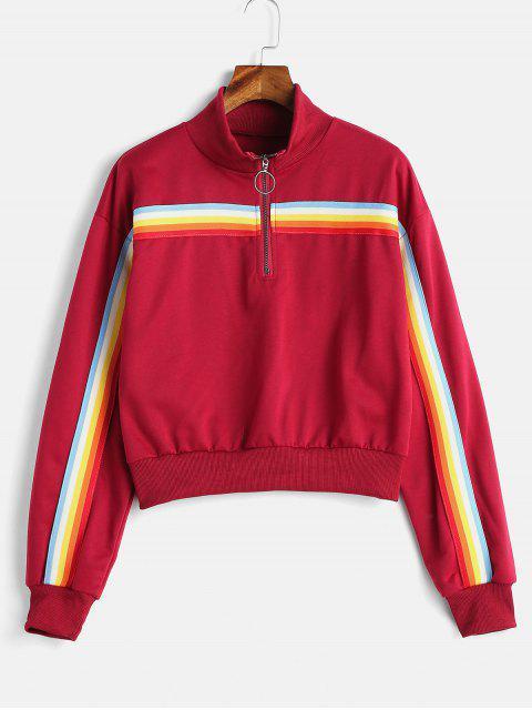 Sudadera con cremallera a rayas multicolor con logo Rainbow - Vino Tinto S Mobile