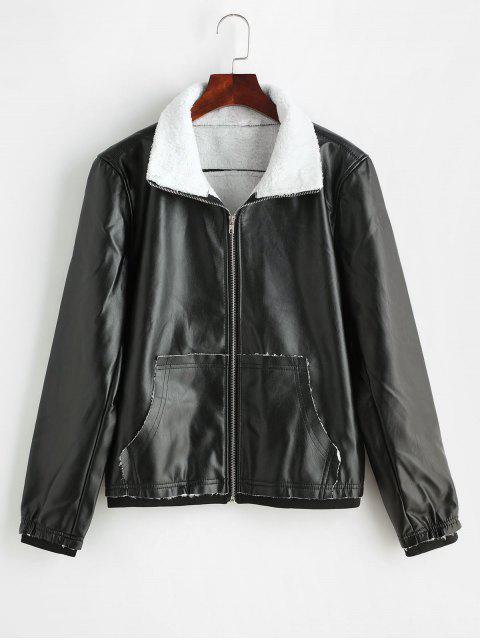 Chaqueta de lana de imitación de cuero - Negro M Mobile