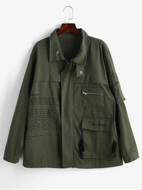 Flap Pockets Graphic Zip Up Jacket - Verde Marrón Claro M Mobile