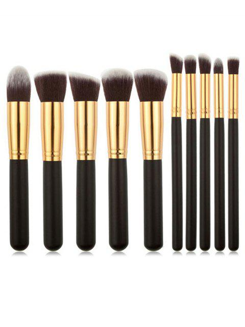 ladies 10Pcs Black Handles Ultra Soft Foundation Blush Eyeshadow Brush Suit - BLACK REGULAR Mobile