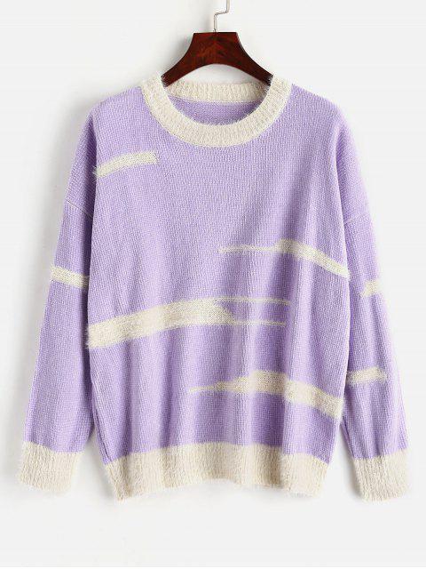 Unregelmäßiger Streifen Drop Shoulder Chenille Sweater - Lila Mimose Eine Größe Mobile