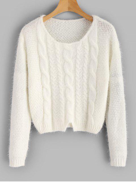 Zopfmuster Fuzzy Sweater - Weiß Eine Größe Mobile