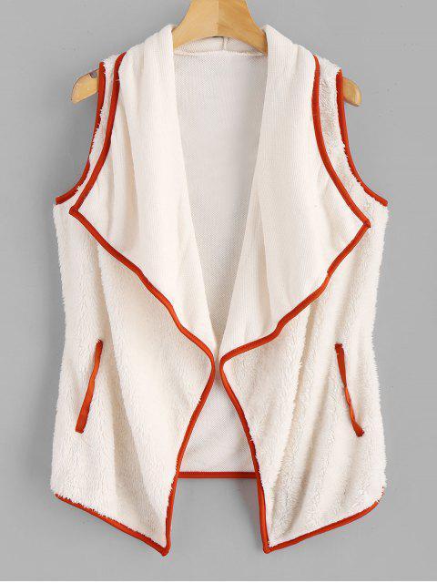 shop Fluffy Turndown Collar Waistcoat - WARM WHITE M Mobile