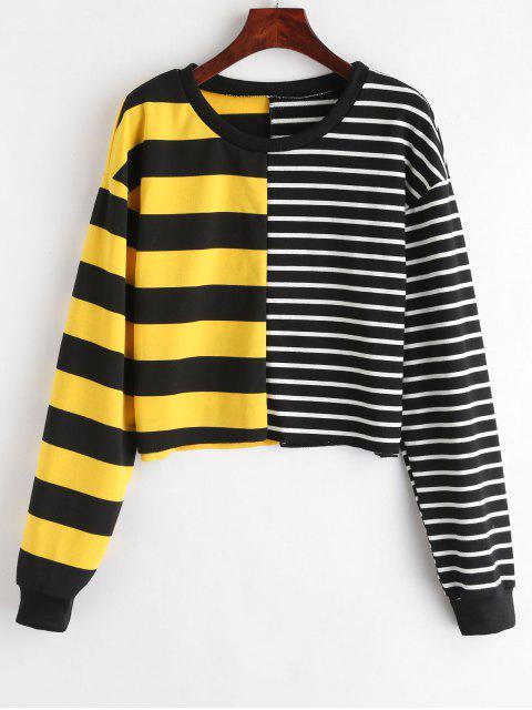 Striped Contrast Boxy Sweatshirt - Multicolor L Mobile
