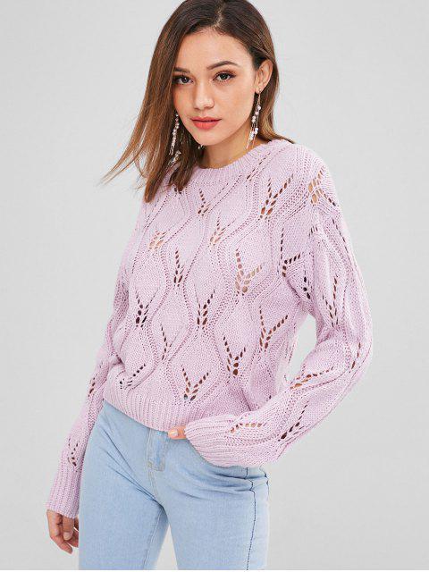 Suéter de punto de punto de cable - Color de malva Talla única Mobile