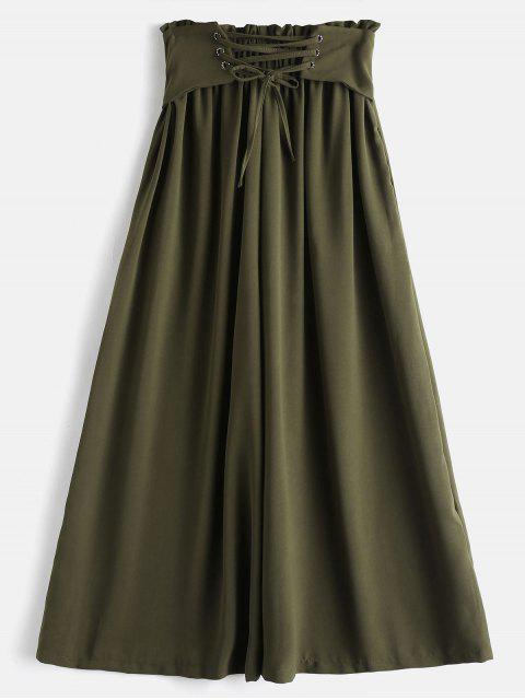 Pantalones de pierna ancha Culotte de cintura alta - Ejercito Verde L Mobile