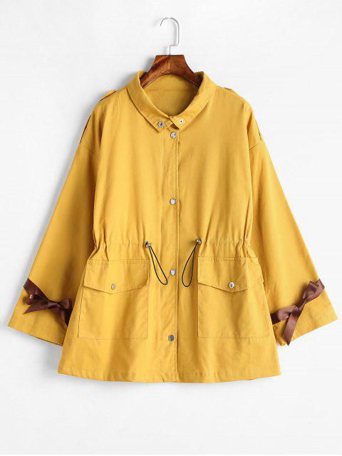 Bolsillos Zipper Fly Coat con cinta - Amarillo XL Mobile