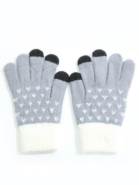 buy Winter Color Block Full Finger Ski Gloves - BLUE GRAY  Mobile