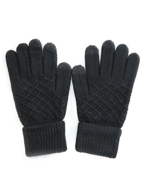 Rombo Pattern Full Finger Guantes de invierno - Negro  Mobile