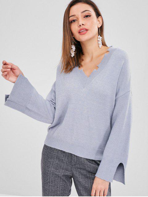 Schlitz Zip Sweater mit Drop Shoulder - Helles Schiefergrau Eine Größe Mobile