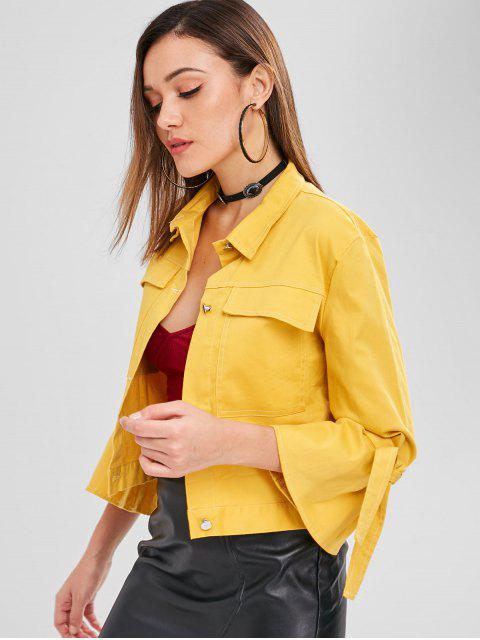 buy ZAFUL Pocket Tie Sleeve Boxy Jacket - YELLOW L Mobile