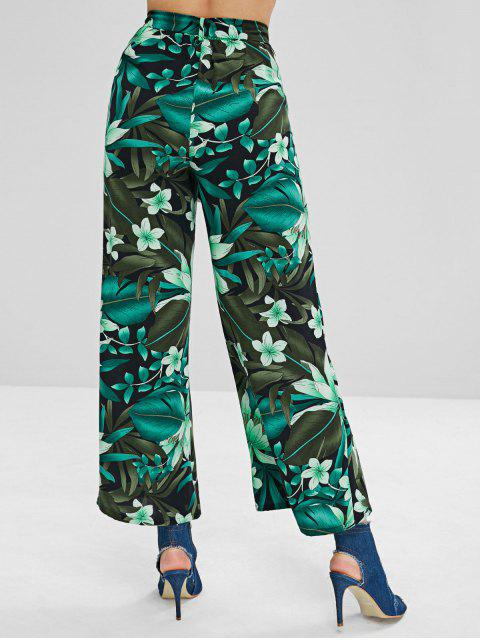 online Plant Print Belt Palazzo Pants - MULTI XL Mobile