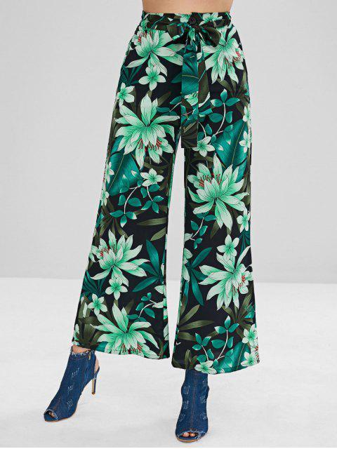 Pantaloni Larghi Stampati Pianta Con Cintura - Multi Colori L Mobile