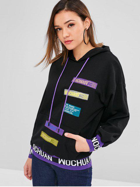 Sweat-shirt à capuche avec poche devant - Noir Taille Unique Mobile