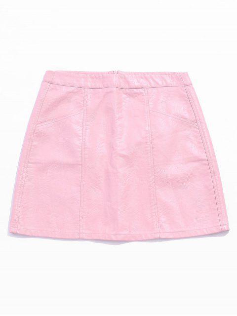 Jupe Mini Faux Cuir Poche - Rose Cochon L Mobile