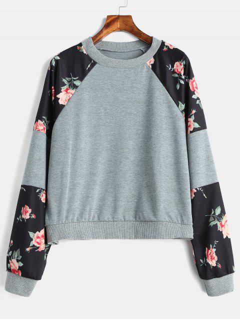 Sweat-shirt Floral Graphique à Manches Raglan - Gris M Mobile
