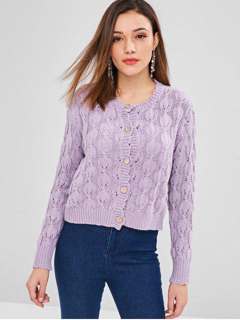 Cardigan en tricot côtelé à l'avant - Mauve Taille Unique Mobile