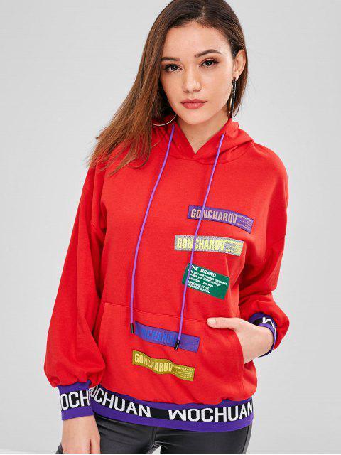 Sweat-shirt à capuche avec poche devant - Rouge Taille Unique Mobile