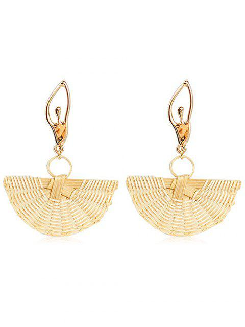 outfits Elegant Knit Straw Fan Shaped Earrings - GOLD  Mobile