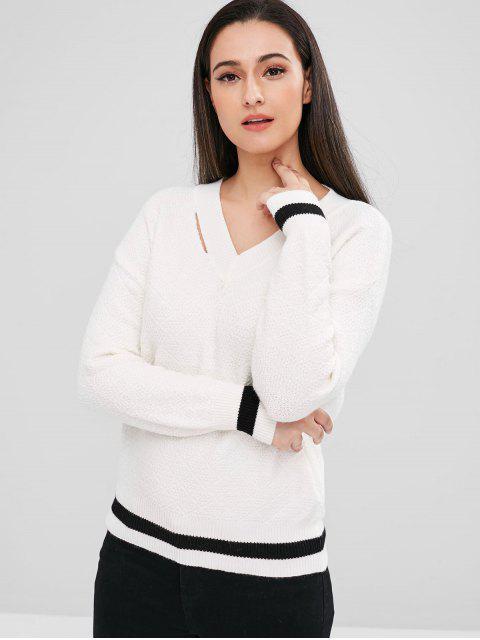 Pull Géométrique Découpé à Goutte Epaule - Blanc Taille Unique Mobile
