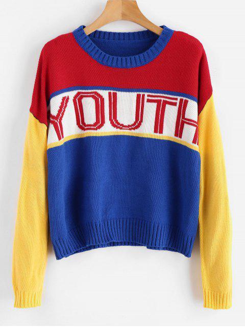 Pull de couleur bloc jeunesse - Multi Taille Unique Mobile