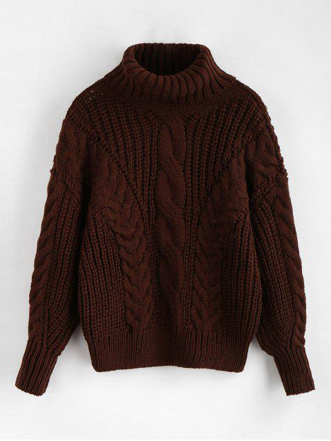 fancy Turtleneck Chunky Cable Knitted Sweater - DEEP COFFEE ONE SIZE Mobile