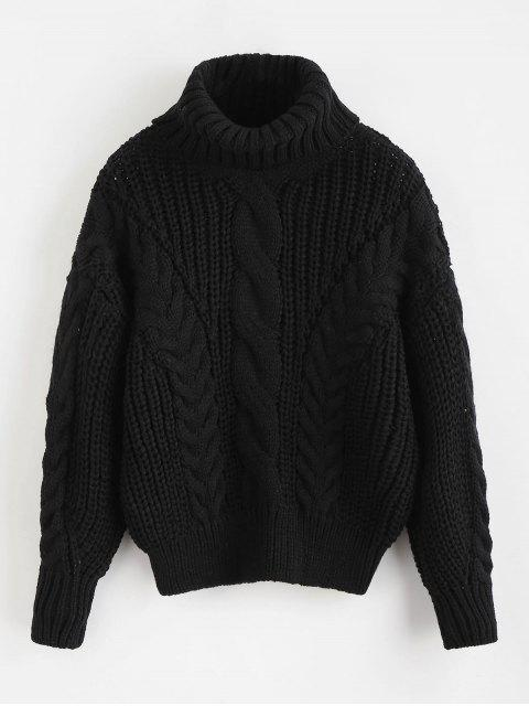 hot Turtleneck Chunky Cable Knitted Sweater - BLACK ONE SIZE Mobile
