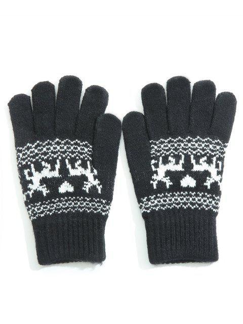 latest Winter Elk Heart Full Finger Gloves - BLACK  Mobile