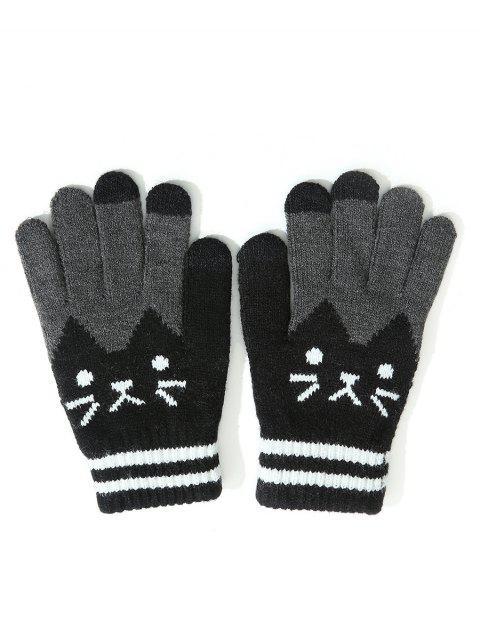 chic Vintage Cartoon Full Finger Gloves - BLACK  Mobile