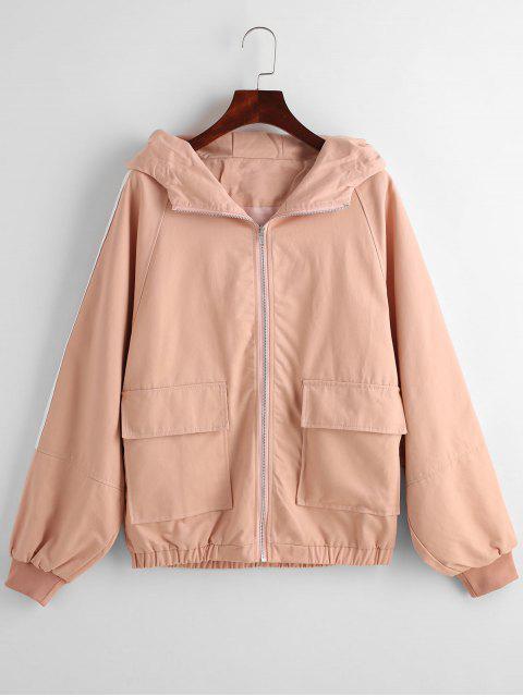 Veste à Capuche Rayée Zippée - Orange Rose XL Mobile