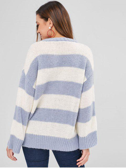 chic ZAFUL Striped Oversized Sweater - BLUE GRAY ONE SIZE Mobile