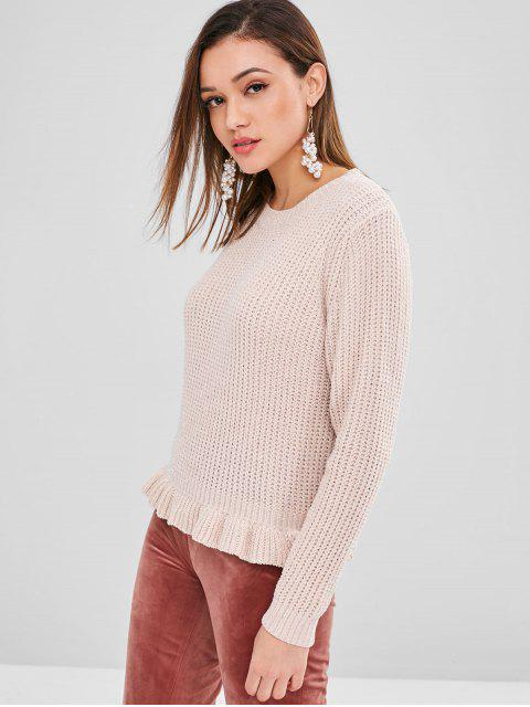 womens ZAFUL Shiny Thread Ruffles Sweater - LIGHT PINK ONE SIZE Mobile