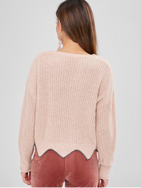 womens ZAFUL Shiny Scalloped Sweater - LIGHT PINK ONE SIZE Mobile