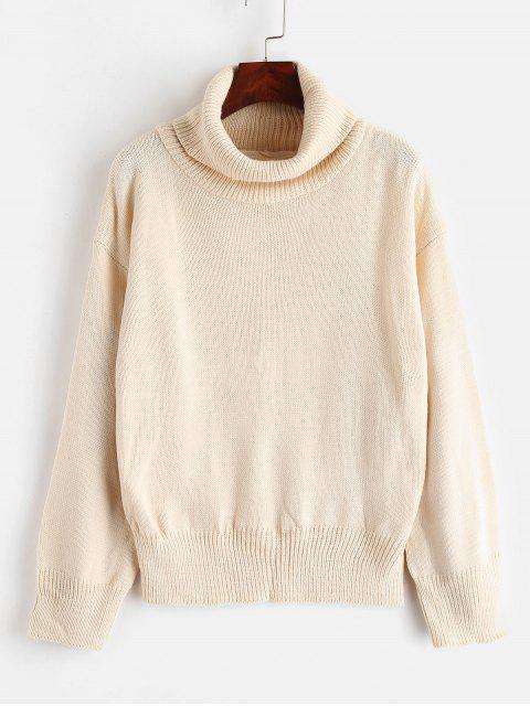 Suéter de punto con cuello alto de punto caído - Albaricoque Talla única Mobile