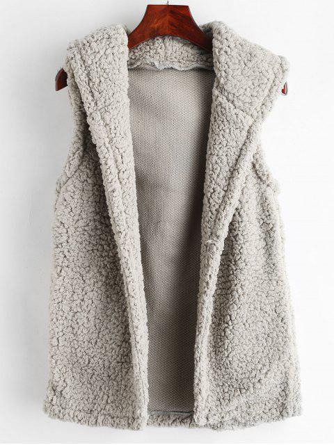 trendy Fluffy Hooded Faux Shearling Gilet - GRAY L Mobile