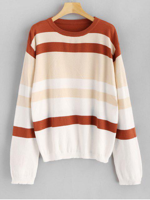 Rundhalsausschnitt Lose gestreifter Pullover - Multi Eine Größe Mobile